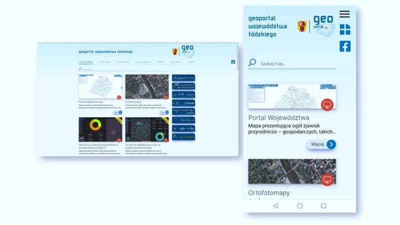 Strona startowa Geoportalu Województwa Łódzkiego - widok na urządzenia stacjonarne i mobilne