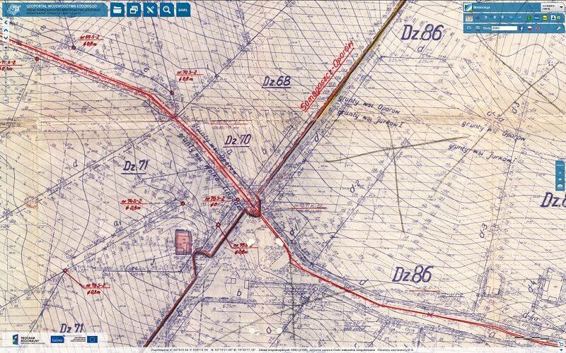 mapa elementów sieci drenarskich - raster