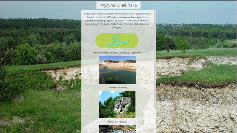obrazek przedstawia stronę poświęconą wyżynie wieluńskiej w aplikacji mapowej Informator geoturystyczny
