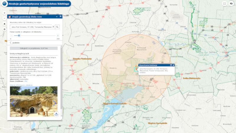 obrazek przedstawia wynik wyszukiwania atrakcji geoturystycznych w pobliżu miasta Tomaszów Mazowiecki