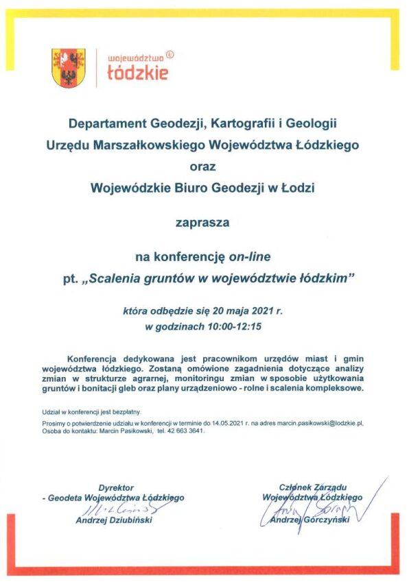 zaproszenie na konferencję Scalenia gruntów województwie łódzkim