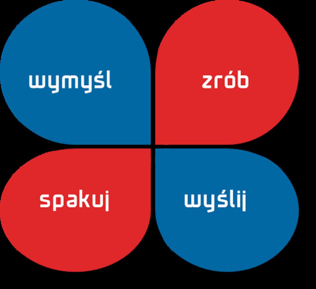 niebiesko-czerwona koniczyna z napisem wymyśl, zrób, spakuj, wyślij
